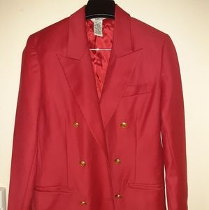 Womens Red double breasted blazer
